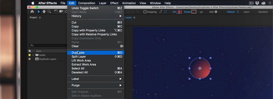 Where is duplicate in the After Effects Menu.png