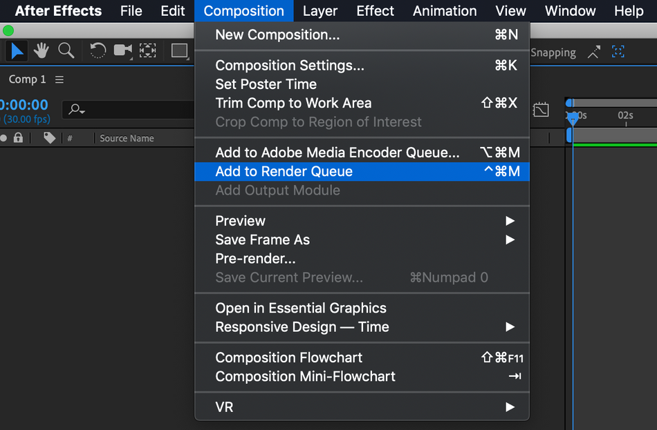 How to add a composition to the render queue using the composition menu.png